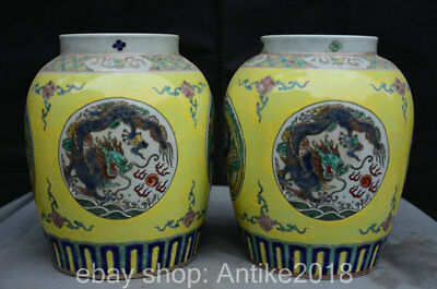 "11.2"" Kangxi Marked China Wu Cai Porcelain Dragon Phoenix Pot Jar Crock Pair"