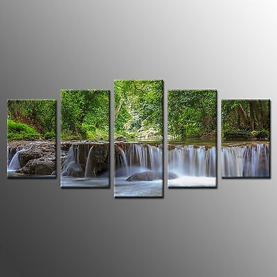 FRAMED 5 Panel Large Wall Art Home Decor Brook Tree Canvas Picture Art Prints