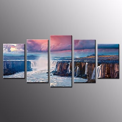 FRAMED 5 Pieces HD Canvas Art Print Canyon Waterfall Canvas Wall Art Home Decor