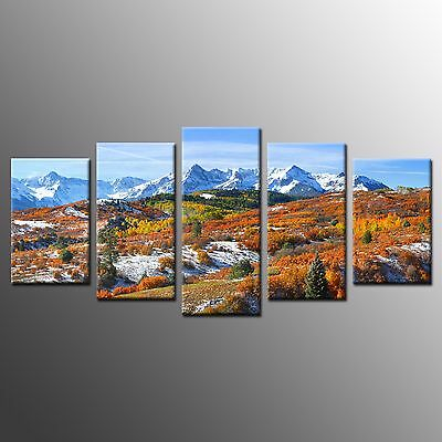 FRAMED Large Canvas Wall Art Snowy Mountain Photo Stretched Canvas Prints-5pcs
