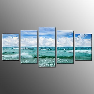 FRAMED Canvas Wall Art Home Decor Green Sea Waves Large Canvas Art Print-5pc