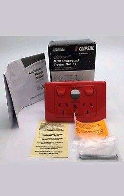 Clipsal ML2025RC10 RED RCD Protected Twin Switched Socket Outlet 10A 250V 10mA