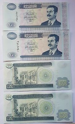Saddam Hussan 100 Dinar IRAQI bank notes. 4 consecutive notes in mint condition
