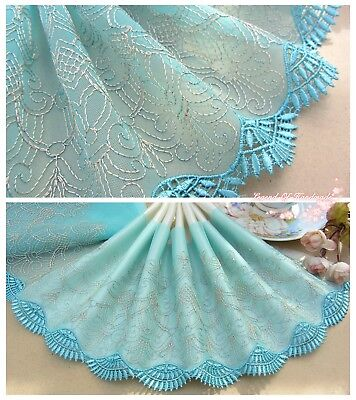 "7""*1Y Embroidered Tulle Lace Trim~Aqua+Gold Beige~Spring Dance~Costume/DIY/Dress"