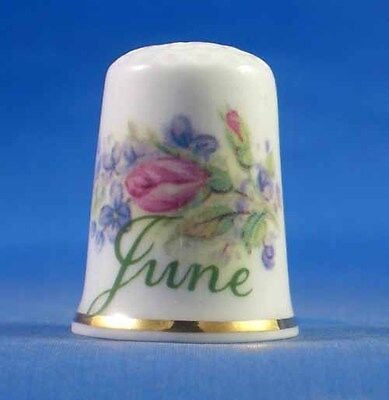 Fine Porcelain China Thimble - Flower Of The Month -- June -- Free Gift Box