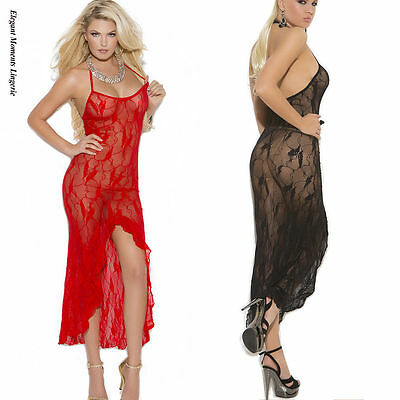 Butterfly lace slip style gown front slit Red & Black elegant moments nightwear