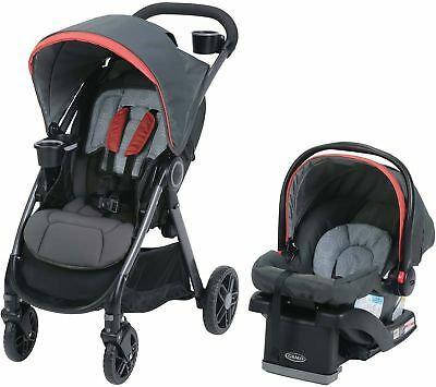 Graco FastAction DLX Travel System, Car Seat Stroller Combo, Solar