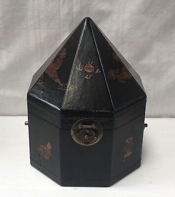 Vintage Antique Very Unique Large Asian Octagonal Jewellery Storage Box