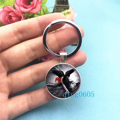 FALLEN ANGEL SEXY GOTH GOTHIC BLACK WING KEYRING KEY RING CHAIN gift new packet