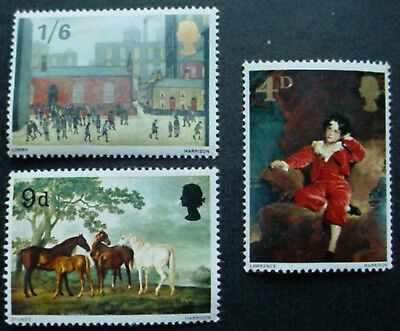 Great Britain 1967: British Paintings: Set Of 3 Mnh Stamps