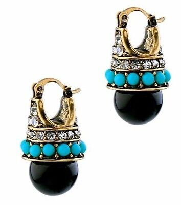 New Antique Vintage Art Deco Style Black Pearl Jewelled Earrings  Uk Seller