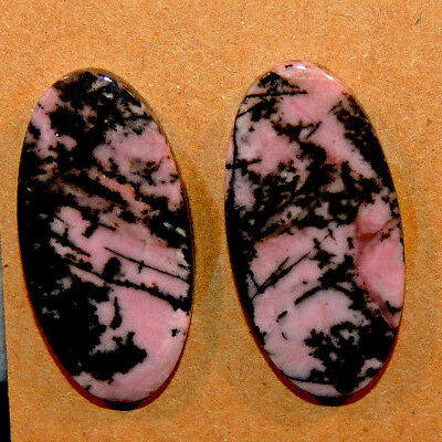 Pink Rhodonite Cabochons 30x15mm with 5mm dome set of 2 (13284)