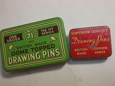 2 Old Drawing Pins Tins with Content.. G/VG