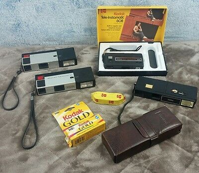 Vintage 110 Camera and Film Lot Kodak Electroflash 555 Vivitar With Case