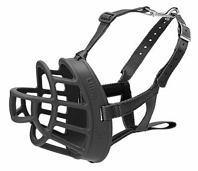 Ultra Padded Dog Muzzle Plastic Basket BLACK X-Large Safety Dogs Training Guard