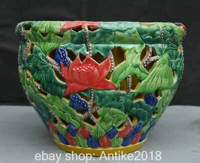"11.8"" Marked China Wu Cai Porcelain Lotus Flower Leaf Hollow Pot Crock Cylinder"