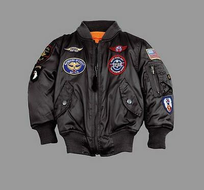 ALPHA INDUSTRIES MA-1 Patch Youth Black 103712/03 Pilot Jacket Army NEW USA