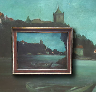 RARE Thema: nächtliches Riverside with stadtsilhouette. Signed Oil Painting