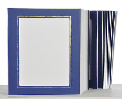 Picture Folder/Leporello for 100 Photos 15x20 - Blue with Gold Edge - 325G