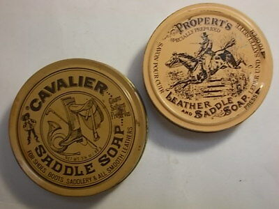 2 Old Leather & Saddle Soap Horse Picture Tins. VG