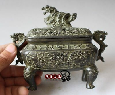 China Exquisite Old Handwork Bronze  Incense Burners Lucky Dragon Collectible