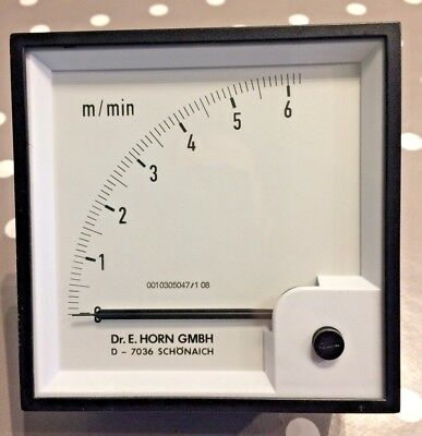 Dr.E.Horn Gmbh 96x96 DIn m/min Panel Meter 90' scale 0 to 6 m/min - type EAF