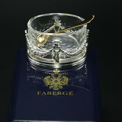 Faberge Oval Crystal Empire Salt Cellar Sterling Silver Base in Gift Box