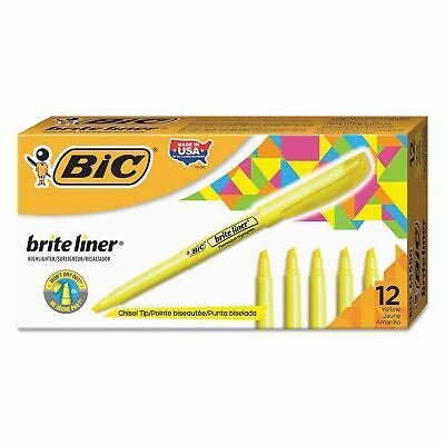 BIC Brite Liner HIGHLIGHTER Marker Pen Fluorescent YELLOW CHISEL Tip 12 PENS