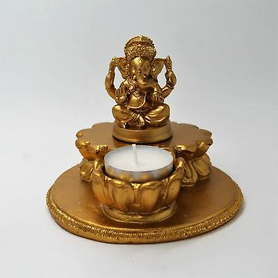 Hindu God Ganesh With Diya Statue Idol For Home Temple - Golden