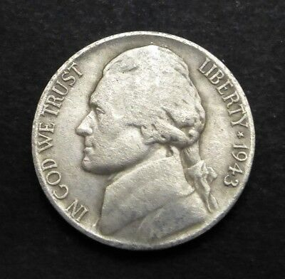 Vintage United States 5 Cents - 1943 Silver War Nickel coin