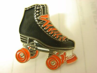 Roller skate pin badge Black skate with red wheels and laces Skates Skater