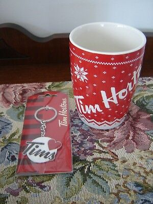2015 Tim Hortons Collectable Red Sweater Mug #015  w/ Key Chain/Ring