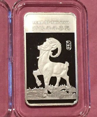 2015 Year Of The Ram Chinese Zodiac 1/2 Troy Oz .999 Fine Silver Ingot Bar Medal