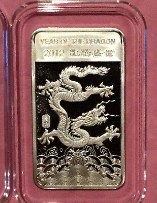 2012 Year Of The Dragon Chinese Zodiac 1/2 Troy Oz .999 Fine Silver Ingot Bar