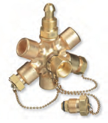 Superior MB-580-7 BRASS GAS MANIFOLD BLOCK, CGA-580 6 Outlet MB-70