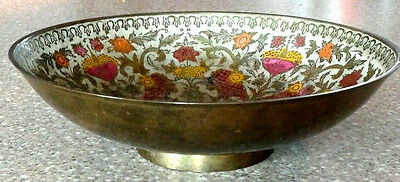 "Cloisonné Bowl Antique Brass Decorative 8"" Vintage Old Hand Painted"