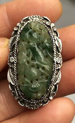 Antique Chinese Hallmark Sung Silver Carved Green Good Jade Filigree Clip