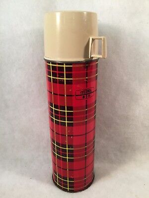 "Vintage 1973 KING SEELEY 13-1/2"" Red Plaid/Tan Cup Metal Thermos 2442"