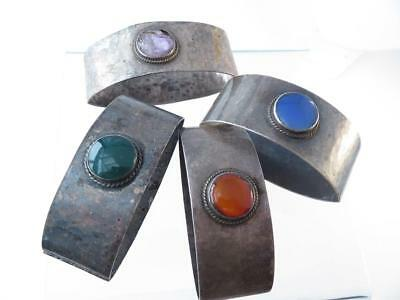 Rare A&c Hammered Sterling Real Stones Birmingham Liberty & Co. 4Pc Napkin Rings