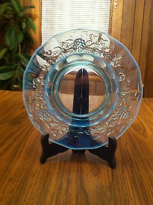 Antique Vintage Rare Blue Glass Plate Old Beautiful