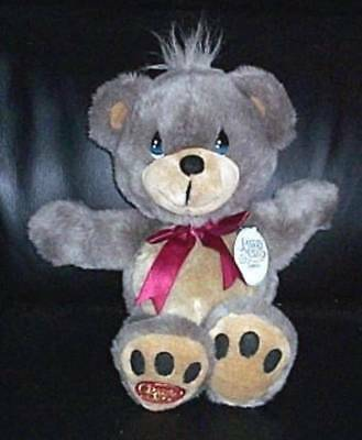 "Precious Moments Plush 15"" Charlie 2-Tone Brown Bear with Embroidered Logo Paw"