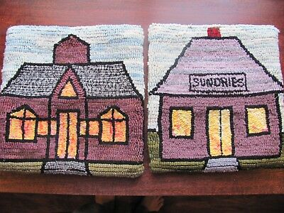"""Vintage Folk Art Inspired Pair Of Sweet 12"""" X 12"""" Pillow Covers"""