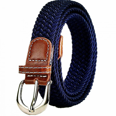 Kids Shcool Elastic Braided Belts For Boys Girls With Buckle Black/Brown/Blue
