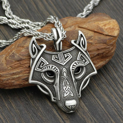 Norse Viking Pendant Norse Wolf Head Mens Cord Rope Chain Necklace Animal Amulet