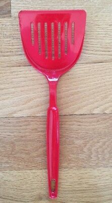 Vintage Ekco Red Nylon Wide Slotted Spatula Turner ~ Usa Made