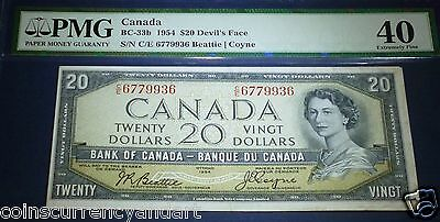 """DEVILS FACE, ,$ 20 1954, Bank of Canada ,PMG 40 ,""""Devil's Head"""" series ! EF"""