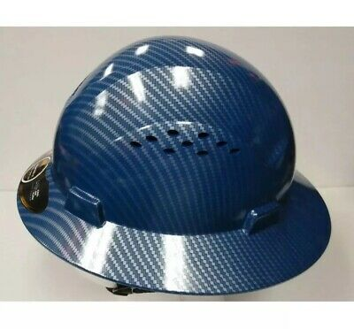 HDPE Hydro Dipped Blue Full Brim Hard Hat with Fas-trac Suspension  Cool Air Fl