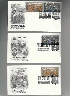 Us Fdc First Day Covers Civil War Gettysburg  2013  Lot Set Of 3  Artcraft