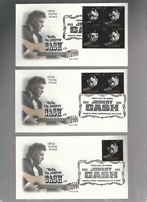 Us Fdc First Day Covers Johnny Cash  2013  Lot Set Of 3  Artcraft