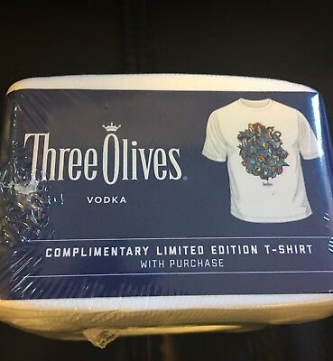 THREE OLIVES VODKA Limited Edition T-Shirt DIY Shirt NEW in Package!